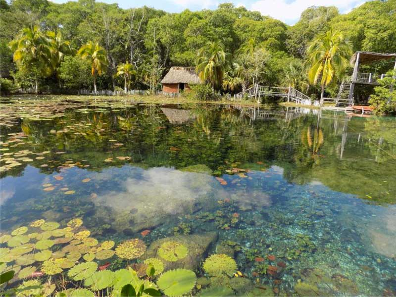 Ojo de agua de El Remate en la comunidad de Tankuché, Municipio de Clakiní, Campeche, México